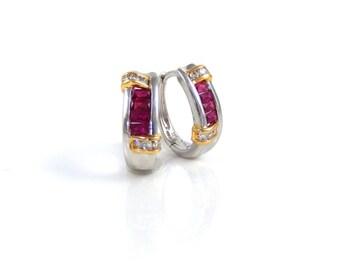 14K White Gold Rubies & Diamonds Vintage Earrings - X2837