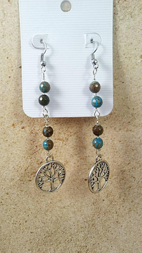 Tree of life, sea jasper, dangle earrings, Silver Tree Earrings, Tree of Life Jewelry, Celtic Earrings, Natural Stone Jewelry, gift for her
