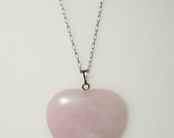 Rose Quartz Heart Pendant on a 20 inch Sterling Silver Rolo Chain