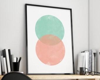 Mint Coral Decor, Mint Coral Art, Coral Print Art, Mint Print Art, Coral Poster Art, Printable Scandinavian Art Print, Nordic Print Art
