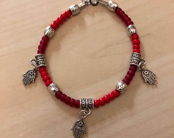 Red Beaded Hamsa Kabbalah Bracelet