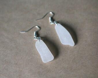 White Frosty Beach Glass Earrings