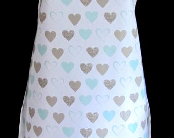 HEARTS Apron / Pinny PVC/OILCLOTH - Lightweight - Wipeclean - Craft - Cooking - Baking, etc