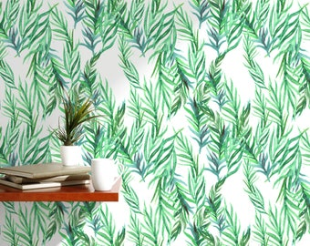 Watercolor Leaves Removable Wallpaper Floral Green Tropic Botanical illustration Wall mural peel and stick Jungle wall sticker CC057