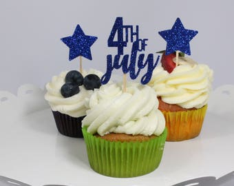 4th of July Cupcake Toppers – 4th of July Decorations – 4th of July Party – 4th of July – Glitter Party Decorations – Stars Cupcake Toppers