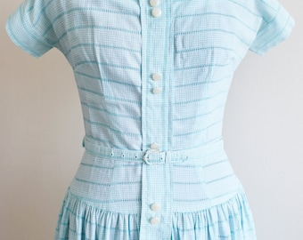 1950s Blue Gingham Tea Dress, Approx Size 6
