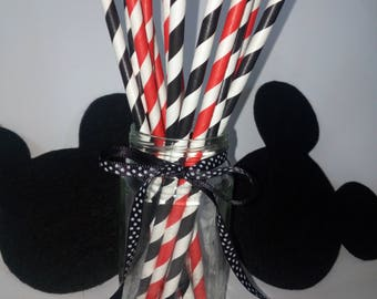 Disney Birthday, Mickey Mouse inpired Party,Red,Black Paper Straws,Black and Red Striped Party Supplies ,Pirate Party Decor, Ladybug Theme ,