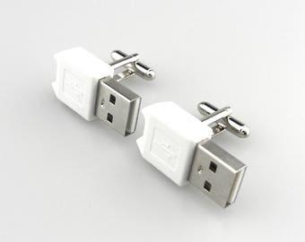 Computer Part Cufflinks - Cyberpunk Cufflinks - USB Cufflinks - Geek Cufflinks - Nerd Chic Cufflinks - Techie Cufflinks - Gadget Cufflinks