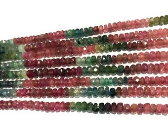 "Natural Tourmaline Beads, Gemstone Beads, Wholesale Tourmaline, Multi Color Watermelon Tourmaline Beads, Bulk Gemstone Beads, 13.5"" Strand"
