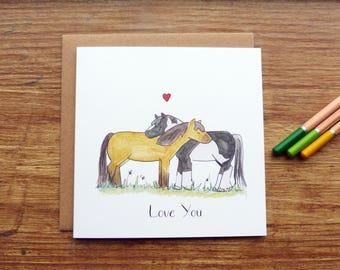 Love You Ponies Greetings Card - Cute Handmade Watercolour Horses