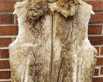 1970s Reversible Rabbit Fur Vest with Collar,  Short Fur Vest  with Elastic Waist, Reversible Quilted Vest
