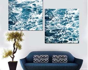 Abstract Art Print Set of 2 Ocean Photography Nautical Decor Waves Abstract Ocean Wall Decor Large Wall Art Print, Blue Abstract Download