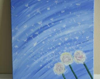 Dandelions in the Wind Acrylic Painting