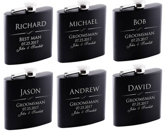 P Lab Set of 6 or Only 1 Groomsmen Gift - Groomsman Gifts For Wedding, Customized Flask Set | Optional Gift Box - Personalized Flask Set - 1
