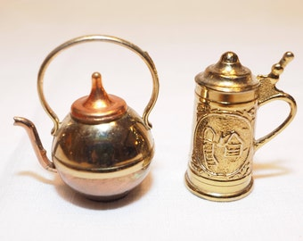 Miniature Brass Stein and Copper and Brass Teapot