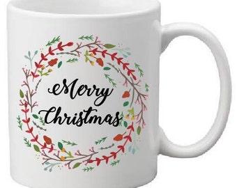 merry christmas mug,christmas mug,christmas gift,christmas mug gift,coworker gift,office gift,christmas wreath mug,christmas wreath,mugs