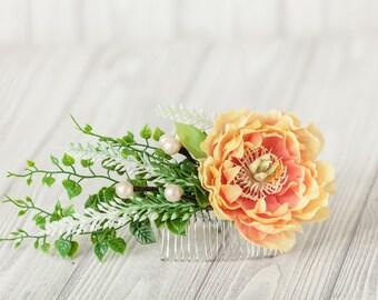 Green Orange Bridal Comb Orange Floral Hair Comb Peony Orange Flower Comb Orange Flower Headpiece Orange Boho Hair Piece Wedding Accesories