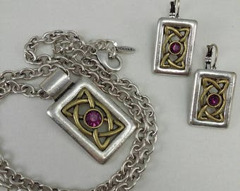 Vintage SOLVAR pendant necklace with matching pierced earrings