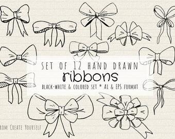 Hand drawn bow vector set, 12 ribbon clipart, handdrawn ribbon, commercial use clipart, ribbon png, bow vector, handdrawn bow clipart, bows