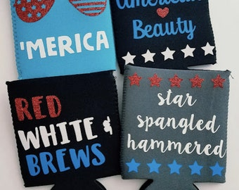 4th of July Patriotic Can Cozies
