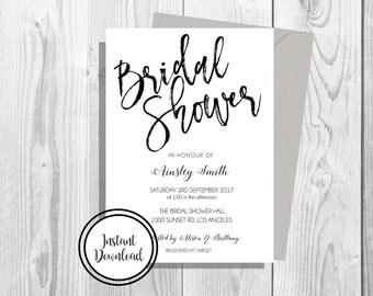 Bridal Shower Invitation / Simple & Elegant / Black and White/ Instant Digital Download / Editable PDF