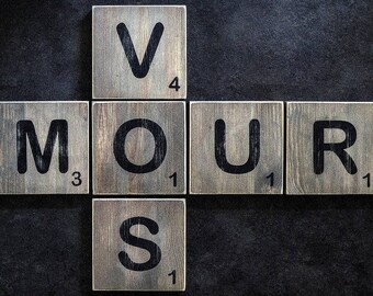"How ""Scrabble game"" wooden letters"