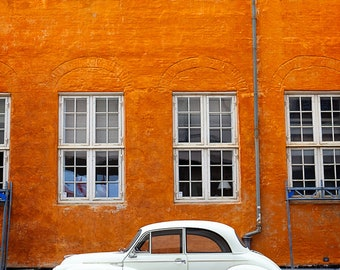 Car Copenhagen Print/ Denmark/ Architecture/ Orange/ Car/ Travel Photography/ Eleventh Planet Art/Framed Print/Home Decor/Wall Art