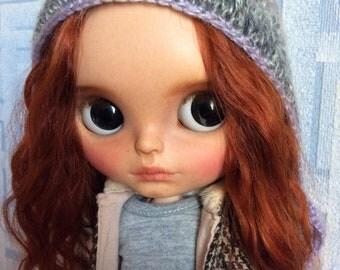 Sandy,ooak custom takara blythe with two color reddish-brown mohair reroot,base doll cinnamon girl