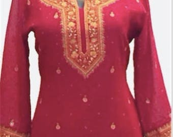 Indian hand embroidered silk top, Indian ethnic kurti, kurta, tunic with long sleeves