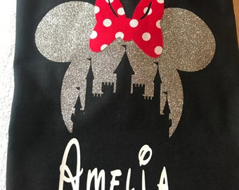 Minnie Mouse t-shirt-Disney shirts~Disney vacation shirts-Mickey tshirts-customized Disney shirt-Disney shirts for women-Cinderellas castle