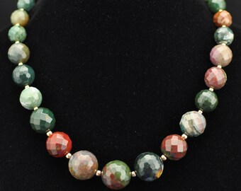 Fancy Agate Faceted Graduated 14K GF Necklace