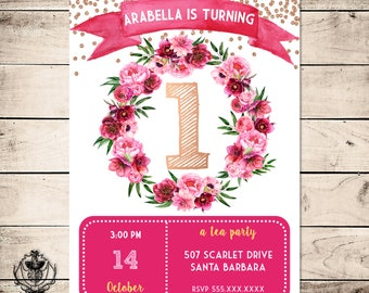 Tea Party First Birthday Invitation, Floral Birthday Invitation, Girl Birthday Invitation, Fushia, Rose Gold, Birthday Invite, Any Age
