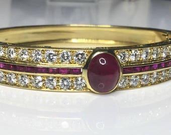 Estate Vintage 18K Yellow Gold 7.25 CTW Diamond & Ruby Bangle Bracelet 43 Grams