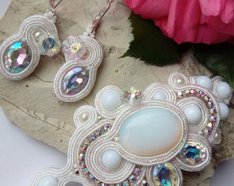 A soutache bracelet with a natural Moonstone! Earrings as a gift!