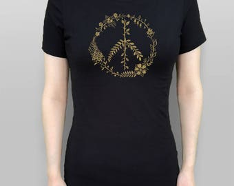 Peace Sign T-Shirt Women's Slim Fit Floral Peace Sign Shirt Flower Peace Sign Tshirt Women's Top Black T-Shirt Screen Printed Floral Wreath