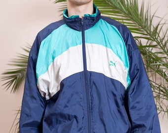 90s hip hop vintage clothing•Vintage Puma windbreaker•90s hipster jacket•Colour block tracksuit jacket•Nylon Puma 90s windbreaker•Miauhaus