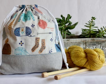 Knitting Project Drawstring Bag - Yarn Love