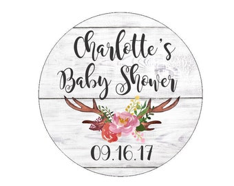 Baby Shower Favor Stickers Custom Date Labels Tags Floral Antlers Branch Flowers Watercolor Rustic White Wash Wood Candy Bags Buffet