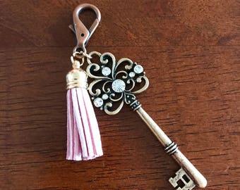 Bronze Key with Pink Tassel Keychain