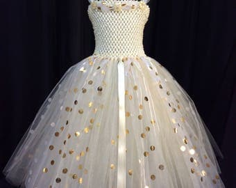 Ivory & gold polka dot princess tutu dress, birthday dress, gift for her, tutu dress for girls, tulle tutu dress, princess dress, dress up