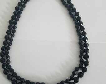 Black Crystal Necklace .Free Shipping