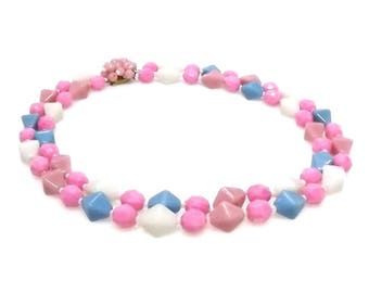 Pastel Milk Glass Pink Blue White Bead Choker Necklace - Vintage Double Strand Glass Bead Choker 99