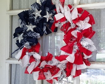 Patriotic, Red White and Blue, Wreath for the sumer time, Flag, Old Glory Front door