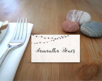 Simple Fairy Lights Printable Place Cards