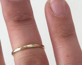 Stackable ring - simple band - stacking ring - hammered ring - Gold - Rose gold - Silver