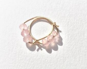 Rose quartz beaded hoops - Semiprecious beaded hoop earrings - rose quartz earrings - gold/rosegold/silver - hoops