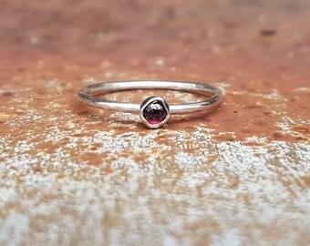 Unique Pink Garnet & Eco Sterling Silver Ring