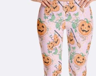 Pumpkins Leggings, Halloween Leggings, Jack O Lantern Leggings, Pink Leggings, Halloween Clothing, Print Leggings, Womens Leggings