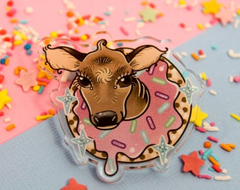 Donut Have a cow!- Laser Cut Illustrated Acrylic Brooch - tattoo flash design pin collar clip animal calf