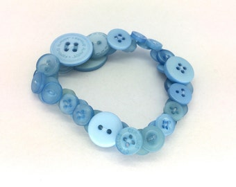 Baby blue bracelet, gift for her, repurposed buttons, button jewellery, blue jewellery, colourful bracelet, unique jewelry, cute gift ideas